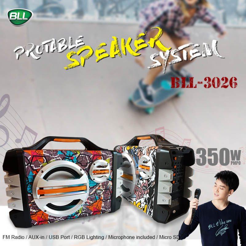ลำโพงพกพาบลูทูธ bll speaker 3026 ราคาถูก ปลีกและส่ง